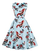 cheap Women's Dresses-Women's Plus Size Going out Vintage Cotton Swing Dress Pleated / Print