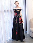 cheap Evening Dresses-A-Line Off Shoulder Ankle Length Satin / Satin Chiffon Formal Evening Dress with Embroidery by LAN TING Express
