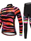 baratos Tops Femininos-Miloto Mulheres Manga Longa Calça com Camisa para Ciclismo - Black / Orange Moto Conjuntos de Roupas Inverno Tiras Horizontais / Com Stretch