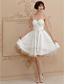 Χαμηλού Κόστους Νυφικά-Πριγκίπισσα Καρδιά Κοντό / Μίνι Σατέν / Δαντέλα κορδόνι Φορέματα γάμου φτιαγμένα στο μέτρο με Φιόγκος(οι) / Ζωνάρια / Κορδέλες με LAN TING BRIDE® / Μικρά Άσπρα Φορέματα / Open Back