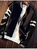 tanie Męskie koszule-Męskie Codzienny Jesień Regularny Kurtka, Kolorowy blok Kołnierz stawiany Długi rękaw Inne Biały / Czarny XXXL / 4XL / XXXXXL