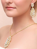 cheap Wedding Veils-Women's Jewelry Set - Drop Include Drop Earrings Necklace Gold For Wedding Party