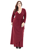 cheap Women's Dresses-Women's Plus Size Daily Basic Maxi Dress - Solid Colored Deep V Fall Black Wine 4XL XXXXXL XXXXXXL