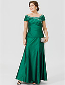 cheap Mother of the Bride Dresses-Plus Size A-Line Scoop Neck Ankle Length Taffeta Mother of the Bride Dress with Beading Ruched Criss Cross by LAN TING BRIDE®