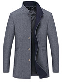 cheap Men's Jackets & Coats-Men's Simple / Casual Plus Size Pea Coat - Solid Colored Stand / Long Sleeve