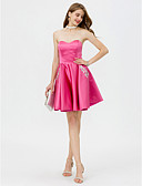 cheap Prom Dresses-A-Line Sweetheart Neckline Short / Mini Satin Open Back Cocktail Party / Prom Dress with Beading / Crystals / Pleats by TS Couture®