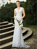 cheap Wedding Dresses-Mermaid / Trumpet V Neck Sweep / Brush Train Lace Custom Wedding Dresses with Beading / Appliques by LAN TING BRIDE®