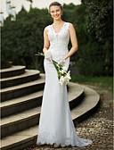 preiswerte Hochzeitskleider-Trompete / Meerjungfrau V-Ausschnitt Pinsel Schleppe Spitze Benutzerdefinierte Brautkleider mit Perlenstickerei / Applikationen durch LAN