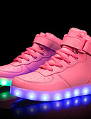 cheap Girls' Tops-Girls' Shoes Customized Materials / Leatherette Spring & Summer Comfort / Light Up Shoes Sneakers Walking Shoes Lace-up / Hook & Loop / LED for Little Kids(4-7ys) / Big Kids(7years +) Red / Blue / TR