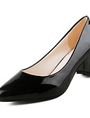 cheap Evening Dresses-Women's Shoes Patent Leather Spring / Fall Basic Pump Heels Chunky Heel Closed Toe White / Black / Red