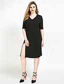 baratos Vestidos Femininos-Mulheres Tamanhos Grandes Reto / Bainha / Túnicas Vestido - Fenda, Sólido Decote V Médio / Altura dos Joelhos