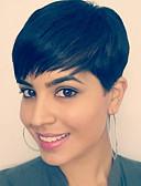 baratos Leggings para Mulheres-Perucas de cabelo capless do cabelo humano Cabelo Humano Liso / Clássico Curto Fabrico à Máquina Peruca Mulheres Diário