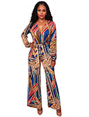 cheap Women's Jumpsuits & Rompers-Women's Party / Club Boho Deep V Red Light Blue Royal Blue Wide Leg Jumpsuit, Color Block Print M L XL Long Sleeve Spring Fall