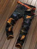 זול מכנסיים ושורטים לגברים-בגדי ריקוד גברים פשתן ג'ינסים / צ'ינו מכנסיים ripped, אחיד