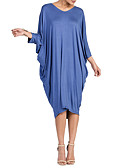 tanie Sukienki-Damskie Rozmiar plus Rękaw nietoperz T Shirt Sukienka - Jendolity kolor W serek Wysoki stan Midi Niebieski