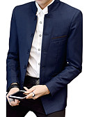 cheap Men's Blazers & Suits-Men's Plus Size Cotton Slim Blazer - Solid Colored Stand