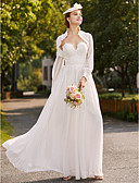 cheap Wedding Dresses-A-Line Strapless Floor Length Chiffon / Floral Lace Made-To-Meature Wedding Dresses with Appliques / Draping by LAN TING BRIDE® / Yes