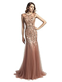 cheap Evening Dresses-Mermaid / Trumpet Jewel Neck Court Train Tulle Cocktail Party / Prom / Formal Evening Dress with Beading / Sequin by LAN TING Express