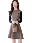 cheap Women's Dresses-Women's Street chic A Line Sheath Dress - Color Block Plaid Crew Neck