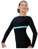 abordables Robe de Patinage-Haut de Patinage Artistique Femme Fille Patinage Tee Shirt Survêtement Fuchsia Bleu marine Bleu royal Elastique Entraînement Compétition Tenue de Patinage Rayure Manches Longues Patinage sur glace