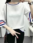 povoljno Ženski jednodijelni kostimi-Žene Izlasci Color block Dugih rukava Regularna Pullover, Okrugli izrez Proljeće / Zima Plava / Obala / Bijela One-Size / flare rukav