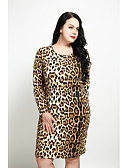 cheap Women's Dresses-Women's Plus Size Vintage Sheath Dress - Leopard