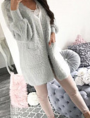 cheap Women's Sweaters-Women's Daily Street chic Solid Colored Long Sleeve Long Cardigan, V Neck Fall / Winter Gray / Khaki M / L / XL