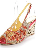 cheap Women's Swimwear & Bikinis-Women's Shoes Polyurethane Spring / Summer Fashion Boots Sandals Open Toe Rhinestone / Crystal / Sparkling Glitter Gold / Black / Red