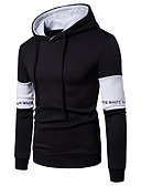 cheap Men's Hoodies & Sweatshirts-Men's Active Long Sleeve Hoodie - Word / Color Block Print Hooded White L
