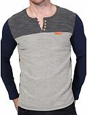 tanie Kwarcowy-Puszysta T-shirt Męskie Okrągły dekolt Kolorowy blok / Długi rękaw