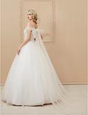זול שמלות כלה-נשף סירה מתחת לכתפיים עד הריצפה תחרה מעל טול שמלות חתונה עם קריסטל / נצנצים / אפליקציות על ידי LAN TING BRIDE® / שקוף / גב מהמם