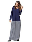 cheap Party Dresses-Women's Daily Maxi Shift / Swing Dress - Striped Cotton Navy Blue One-Size