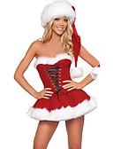 preiswerte Damen Nachtwäsche-Santa Anzüge FrauClaus Kostüm Damen Weihnachten Fest / Feiertage Halloween Kostüme Austattungen Rot Solide Urlaub Weihnachten
