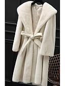 baratos Trench Coats e Casacos Femininos-Mulheres Longo Casaco de Pêlo Para Noite Sofisticado Moda de Rua Inverno, Sólido Pêlo Sintético Poliuretano Pêlo de Guaxinim Com Capuz