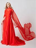 billige Aftenkjoler-A-linje / Prinsesse Høyhalset Svøpeslep Chiffon / Tyll To deler / Kjendisstil Cocktailfest / Formell kveld Kjole med Plissert av TS Couture®