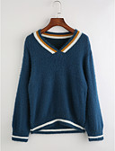 cheap Women's T-shirts-Women's Long Sleeve Pullover - Striped V Neck / Fall / Winter