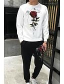billige Hættetrøjer og sweatshirts til herrer-Herre Langærmet Løstsiddende Rund hals Sæt - Blomster / botanik, Trykt mønster
