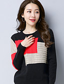 cheap Women's Sweaters-Women's Daily Geometric Long Sleeve Regular Pullover, Round Neck Winter Cotton Black / Red / Camel M / L / XL