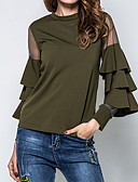 cheap Women's Blouses-Women's Going out Street chic Cotton Blouse - Solid Colored Mesh / Spring / Fall / Ruffle / Sheer
