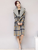 preiswerte Damenmäntel und Trenchcoats-Damen Einfarbig Anspruchsvoll Alltag Lang Mantel, Mit Kapuze Winter Herbst Wolle Baumwolle Polyester Druck