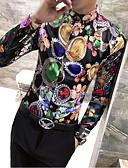 זול חולצות לגברים-גראפי סגנון רחוב כותנה, חולצה - בגדי ריקוד גברים דפוס / שרוול ארוך