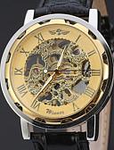 tanie Zegarki mechaniczne-WINNER Męskie Zegarek na nadgarstek / zegarek mechaniczny Hollow Grawerowanie Skóra Pasmo Luksusowy / Na co dzień Czarny / Nakręcanie automatyczne