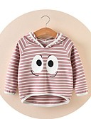 cheap Girls' Tops-Girls' Striped Blouse, Cotton Winter Fall Long Sleeves Cute Cartoon Blushing Pink Light Green