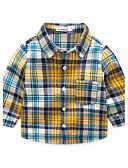 baratos Camisas para Meninos-Para Meninos Camisa Outono Algodão Manga Longa Amarelo
