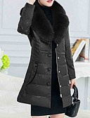 cheap Women's Downs & Parkas-Women's Going out Fox Fur Long Down - Solid Colored