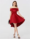 tanie Suknie balowe-Krój A / Księżniczka Z odsłoniętymi ramionami Asymetryczna Satyna Studniówka Sukienka z Plisy przez TS Couture®