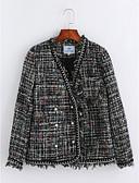 preiswerte Damenmäntel und Trenchcoats-Damen - Solide Gestreift Anspruchsvoll Arbeit Mantel, V-Ausschnitt Stilvoll