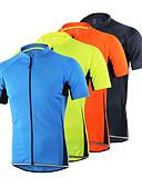 hesapli Mini Elbiseler-Arsuxeo Erkek Kısa Kollu Bisiklet Forması Açık Mavi Gri Koyu Gri Tek Renk Bisiklet Forma Üstler Nefes Alabilir Hızlı Kuruma Anatomik Tasarım Spor Dalları %100 Polyester Dağ Bisikletçiliği Yol / Streç