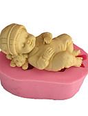 billige Selskapsklokke-3d sovende baby såpe mold fondant mold kake dekorasjon mold