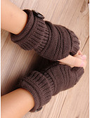 baratos Chapéus de Moda-Mulheres Básico Meio Dedo Luvas Sólido